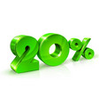 glossy green 20 twenty percent off sale isolated vector image vector image