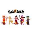 group of kids in halloween costumes vampire mummy vector image