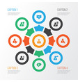 job icons set with team time team leader social vector image vector image