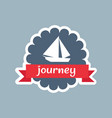 journey card with red ribbon vector image