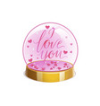 magic crystal ball with small pink hearts and the vector image