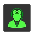 Medical Operator Flat Button vector image vector image