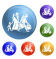 migrant family leave home icons set vector image
