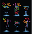 neon tropical drinks vector image vector image