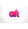 or o r letter logo with pink purple color and vector image