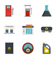 petrol fuel icon set flat style vector image vector image