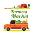 pick up truck with farm product vector image vector image