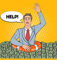 pop art successful man sinking in money vector image vector image