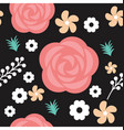 red roses and floral seamless texture vector image vector image