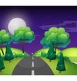 Scene with empty road at night vector image vector image