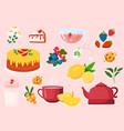 set cute teatime elements on pink background vector image