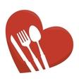 set cutlery in heart vector image