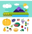 Set of colorful cartoon fruit and mountains vector image