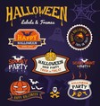Set of Halloween party labels and frames design vector image