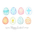 set of hand-drawn colored ornated easter eggs vector image