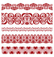set of pattern borders for decorate on valentines vector image vector image