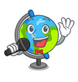 singing globe mascot cartoon style vector image