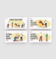 smoking family landing page template set vector image vector image