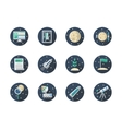 Space expedition color round flat icons vector image