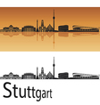 stuttgart skyline in orange background vector image vector image