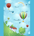 surreal landscape with hot air balloons vector image