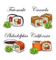 sushi color sketch set vector image vector image