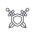 swords protection line icon sign vector image vector image