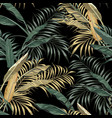 tropical banana leaves seamless black background vector image vector image