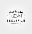 vintage fish icon logo minimal symbol design vector image vector image