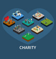 volunteer and charity isometric set