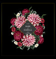 wedding invitation with dahlia peonies and wild vector image