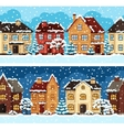 Winter urban landscape pattern with houses and vector image vector image