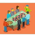 Isometric casino People play at casino table vector image