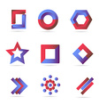 Blue red logo icons elements set vector image