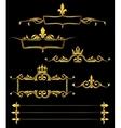 Set of golden royal frames and borders black vector image