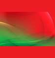 abstract light lines on red and green background vector image vector image