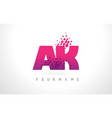 ak a k letter logo with pink purple color and vector image vector image
