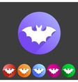 Bat flat halloween icon badge vector image
