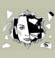 broken retro mirror with a woman face reflection vector image vector image