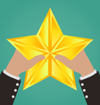 Businessman Hands Catching Gold Star vector image vector image