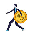 businessman holding coin dollar money vector image vector image