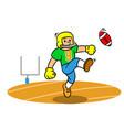cartoon american football player kicking ball on vector image