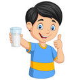 cartoon little boy with a glass milk giving vector image vector image
