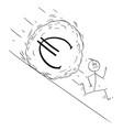cartoon stressed man or businessman running vector image vector image