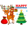 Christmas card template with bear and reindeer vector image vector image