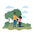 couple of parents with son in landscape avatar vector image vector image