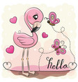 cute flamingo with hearts and butterflies vector image vector image