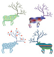 Deers with different pattern set for Christmas vector image vector image