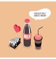 Delicious food Chocolate Milk bottle glass Cake vector image