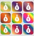 dollar money bag icon vector image